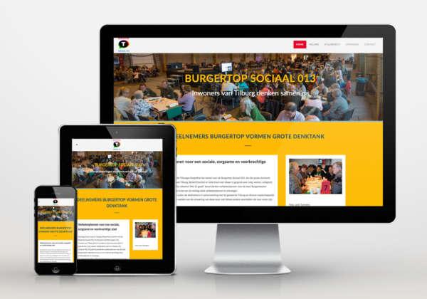 Burgertop Sociaal 013 website, fotografie en design
